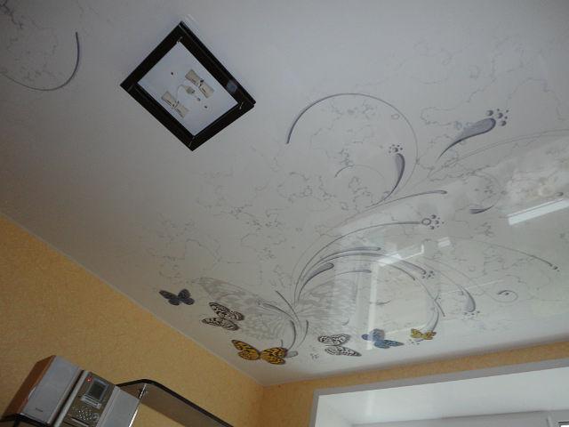 Глянцевые натяжные потолки с рисунком